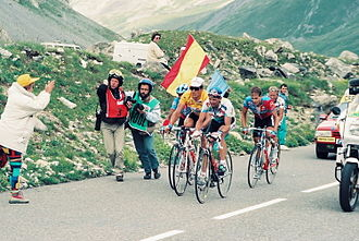 1993 Tour de France - The group containing Miguel Indurain, wearing the yellow jersey as leader of the general classification, on the Col du Galibier in stage ten