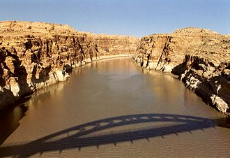 Hite, Utah - Shadow of the Hite Crossing Bridge, showing where Hite is submerged by the Colorado River