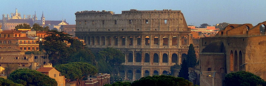 A view of Rome's colosseum and historic centre.