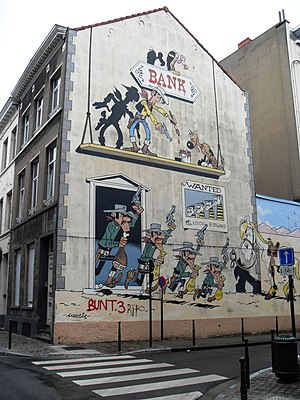 Comic wall Lucky Luke, Morris. Bruxelles