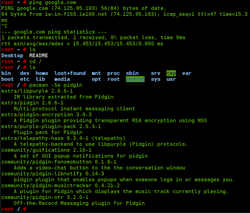snapshot of Arch Linux CLI