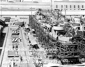 Landing Craft Support - Builders progress photo of LCS(L)(3)-26, Commercial Iron Works, Portland Oregon, 21 July 1944.