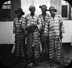 Penal labor in the United States - Floridian convicts leased to harvest timber in the mid-1910s.