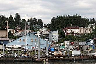 Cordova, Alaska - A view of the Cordova hillside from the boat harbor.