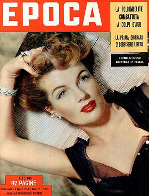 Corinne Calvet - Calvet on the August 1953 cover of Epoca