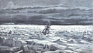 Sketch of the Thomas Corwin caught in ice floes in the Bering Sea, June 1880