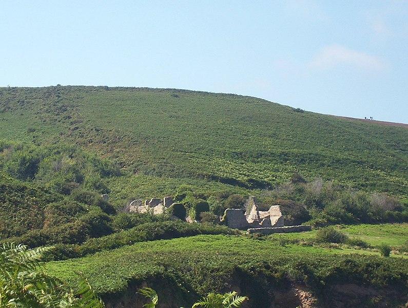 Ruines de la ferme de la Cotentine, à Omonville-la-Rogue. Elle est en partie rebâtie par le Conservatoire du Littoral. Elle a appartenu à Octave de Traynel.