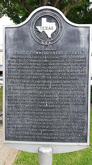 Commissioners' court - County Commissioners Courts Texas historical marker in Brenham, Texas