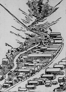 illustration showing the town of Wardner, Bunker Hill, and the Sullivan mines