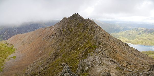 A four segment panoramic image of Crib Goch facing east in Snowdonia National Park, Wales.