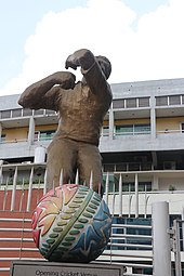 Cricketer monuments in front of Sher-e-Bangla Cricket Stadium by Bangladesh Cricket Board (BCB).jpg