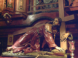 "San Ginés, Madrid - ""Fallen Christ"" (1698), designed by Nicolò Fumo."