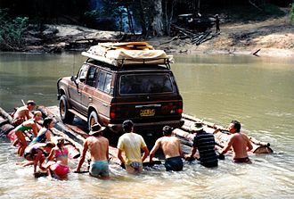 Cape York Peninsula - Tourists crossing the Wenlock River in the Wet Season