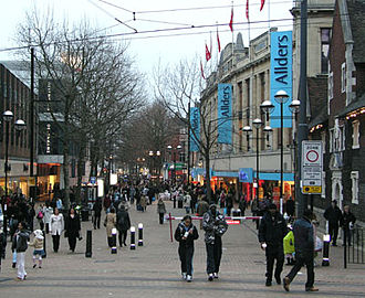 London Borough of Croydon - North End shopping street after the pedestrianisation of the road