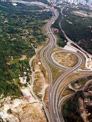 Highways in Croatia - A6 interchange in Orehovica near Rijeka