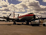 DOUGLAS DC6B F G-APSA IN BRITISH EAGLE LIVERY AT AIRBASE COVENTRY (4656111788).jpg