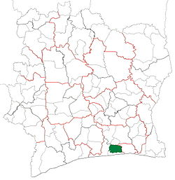 Location in Ivory Coast. Dabou Department has had these boundaries since 2005.