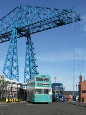 County Borough of Teesside - Image: Daimler Fleetline JDC544L at the Transporter Bridge