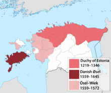 color historical map of Estonia from 1219 to 1572