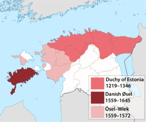 Duchy of Estonia (1219–1346) - Territories a part of the Kingdom of Denmark during 1219-1645