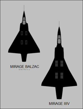 Dassault Balzac and Mirage IIIV top-view silhouettes.png