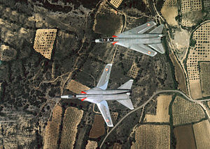 Dassault Mirage G - The Dassault Mirage G8-01 and G-8-02 prototypes in flight. The G8-01's wings are swept.