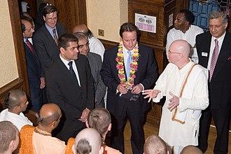 Bhaktivedanta Manor - Future British prime minister David Cameron (centre) visiting the Manor in 2003