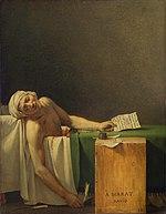 Peinture représentant un homme nu qui gît dans une baignoire équipée d'une écritoire; il a une trace de blessure sanglante au torse et tient dans la main gauche une lettre, dans la main droite une plume.