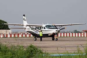 Deccan Charters - Deccan Shuttles Cessna 208 in August 2012 at Sardar Vallabhbhai Patel International Airport.