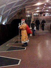 Santa Claus in Kharkiv Metro on the station So...