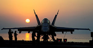 Defense.gov News Photo 110920-N-VN693-049 - Sailors prepare an F A-18C Hornet for flight operations aboard the aircraft carrier USS John C. Stennis CVN 74 as the ship operates in the 5th Fleet.jpg