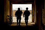 Defense.gov News Photo 111123-F-FT240-170 - U.S. Army Staff Sgt. Mark Lynas left and Sgt. Mark Record secure a school and clear insurgent threats in a village in Shah Joy Afghanistan on.jpg