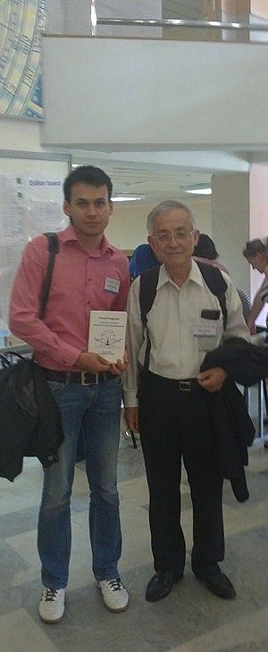 "Eiji Osawa - Denis Sh. Sabirov (left) and Eiji Osawa (right), International Conference ""Advanced Carbon Nanostructures"", St. Petersburg, Russia, 2011"