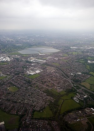 Denton, Greater Manchester - Viewed from the air, looking west