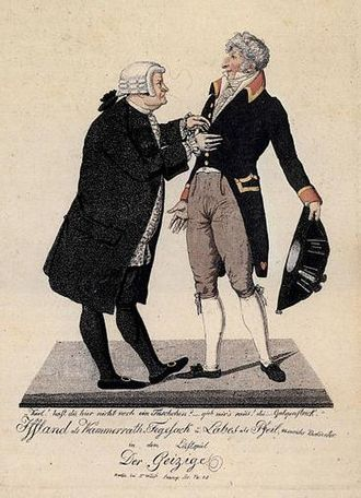 The Miser - Harpagon and La Flèche in a German production of The Miser, 1810