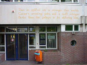 Derek Walcott - Wall poem ''Omeros'' in Leiden