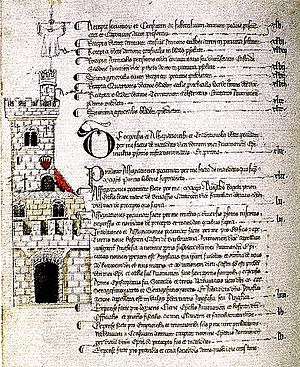 Barbentane - Drawing and description of the Tour Angelica (Anglica Tower), built in the 14th century at Barbentane by order of Cardinal Angel de Grimoard brother of Urban V in the Departmental Archives of Vaucluse