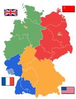 Megszállási zónák 1946-ban. A Saar-vidék (csíkozott) francia fennhatóság alá került (1947–1956).