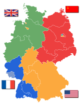 Occupation zones in 1946 after territorial annexations in the East. The Saarland (in stripes) became a protectorate of France from 1947- 1956.