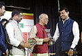 Dharmendra Pradhan and the Minister of State for Information & Broadcasting, Col. Rajyavardhan Singh Rathore honors the luminaries in the field of Radio, at the valedictory function of the International Radio Fair.jpg