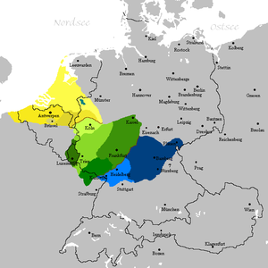 Lorraine Franconian - Franconian languages area: Central Franconian dialects in green.