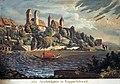 Die Schlosshalde in Rapperschweil, Nordansicht, um 1825, kolorierte Aquatinta, Meinrad Kälin - Stadtmuseum Rapperswil - 'Stadt in Sicht - Rapperswil in Bildern' 2013-10-05 16-12-49 (P7700).JPG