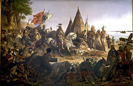 Hernando de Soto and Spanish conquistadors seeing the Mississippi River for the first time. Discovery of the Mississippi.jpg