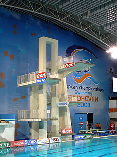 Diving (sport) Sport of jumping or falling into water from a platform or springboard