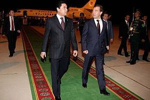 Turkmenbashi International Airport - Dmitry Medvedev with President of Turkmenistan Gurbanguly Berdimuhamedov in airport