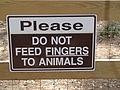 Do not feed animals sign, Boat Basin Park, Bainbridge.JPG