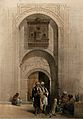 Doorway to an Arabian mansion, with men smoking outside, Cai Wellcome V0049388.jpg