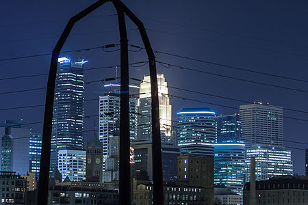 Downtown Minneapolis and Power Lines at night 15188621413.jpg