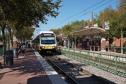 A DART Red Line train at the Downtown Plano station