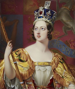 Coronation of Queen Victoria - Coronation portrait of Queen Victoria by George Hayter (detail)